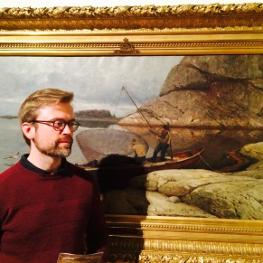 Børge Johnsen in front of one of Gude's paintings