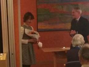Georgiana Keable receving flowers from our Chairman